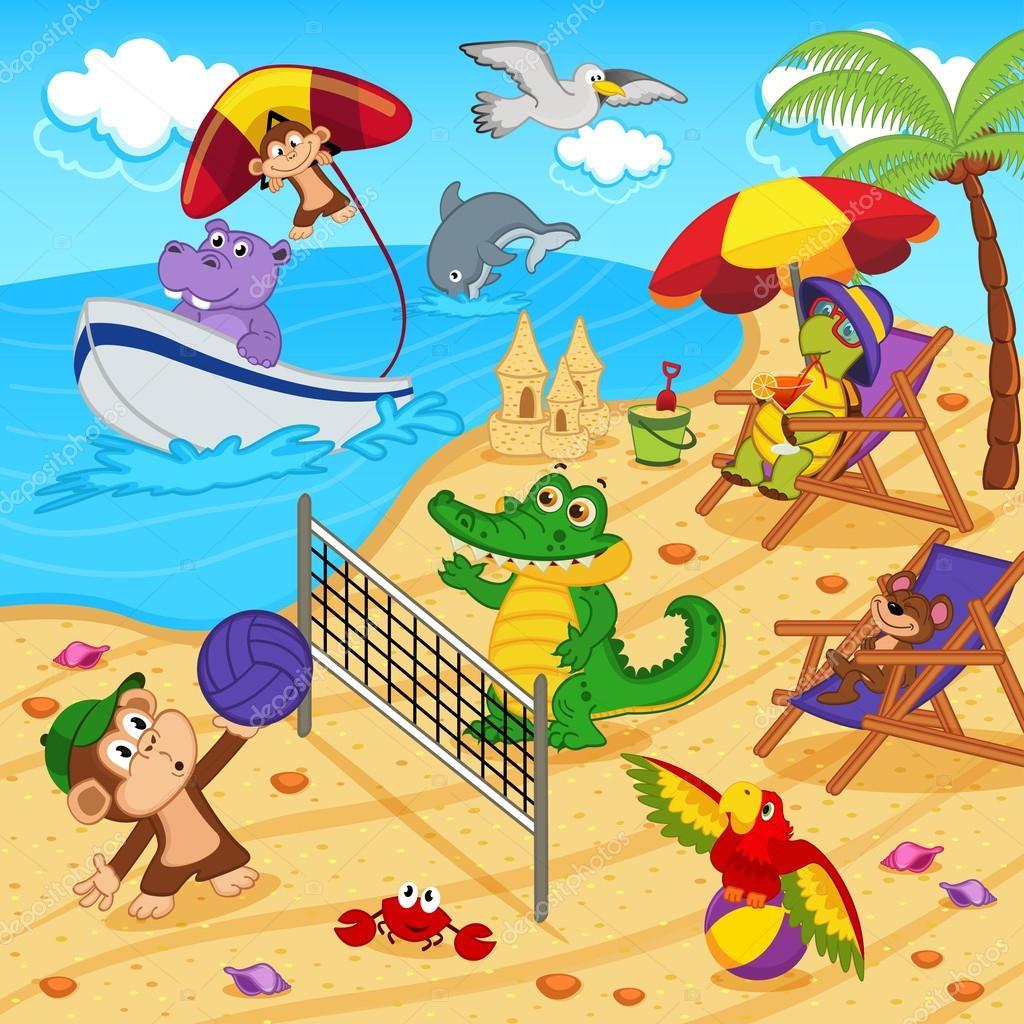 animales descansando en la playa — Archivo Imágenes Vectoriales ...