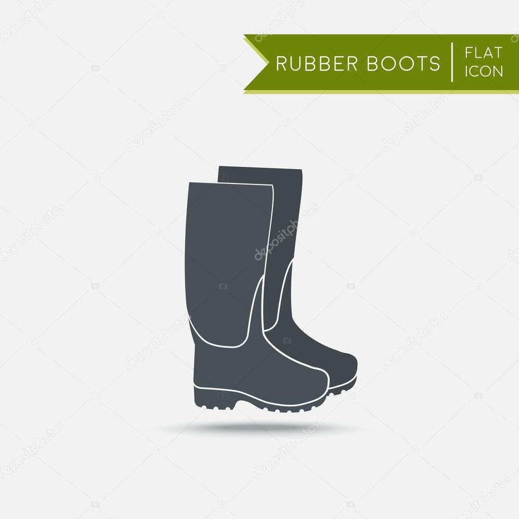 ae51f22b Buty gumowe ikona. Wodoodporne buty. Płaskie ilustracji wektorowych–  ilustracja stockowa
