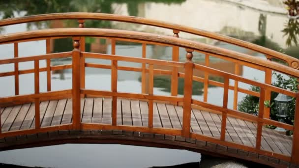 View of the inner garden. The wooden bridge over an artificial pond.
