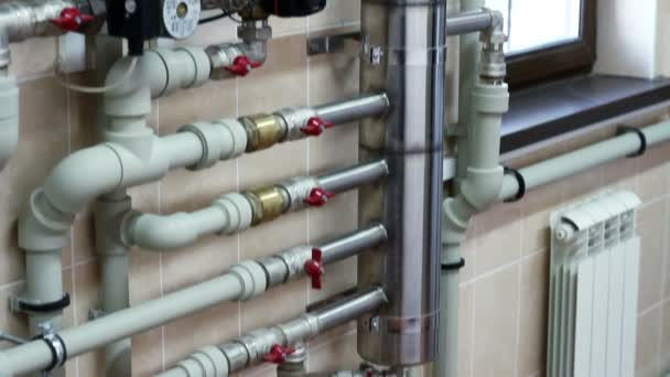 Boiler-house in private home. Heating system. — Stock Video ...