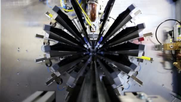 High-tech robotic line for production of metal pipes. Inside view of the complex