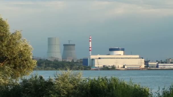 Exterior view of the unit of industrial nuclear power plant. Five cooling towers