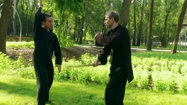 Qigong  Exercise with a wooden stick  Two men practicing qigong  Slow  motion  HD