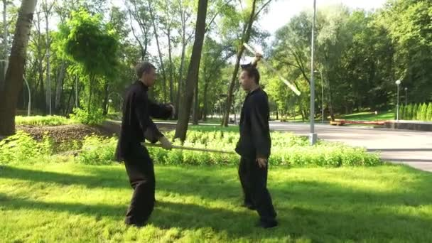 Qigong  Exercise with a wooden stick  Two men practicing elements of  qigong  4K