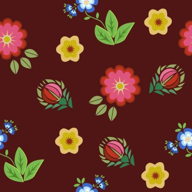 Seamless pattern floral embroidery red