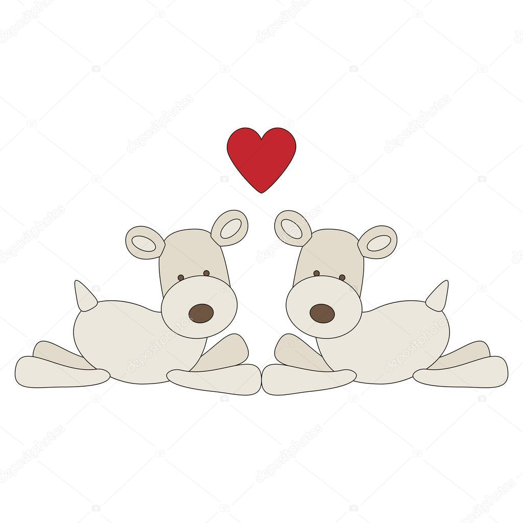 Couple of fox terrier dogs in love icon