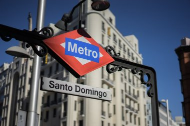 Metro stop in Plaza de Espana Madrid