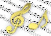 Violinschlüssel und Hinweis auf Pentagram - 3d