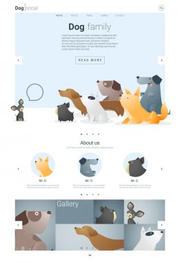 Animal website template  banner and infographic with Dog 2, vector , illustration