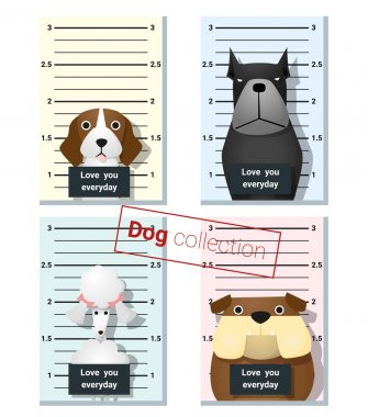 Mugshot of  cute dogs holding a banner , vector, illustration