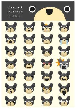 French bulldog emoji icons, vector, illustration