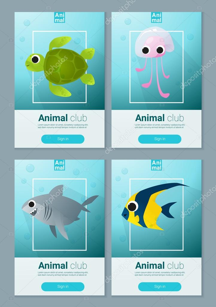 set of sea animal templates for web design vector illustration