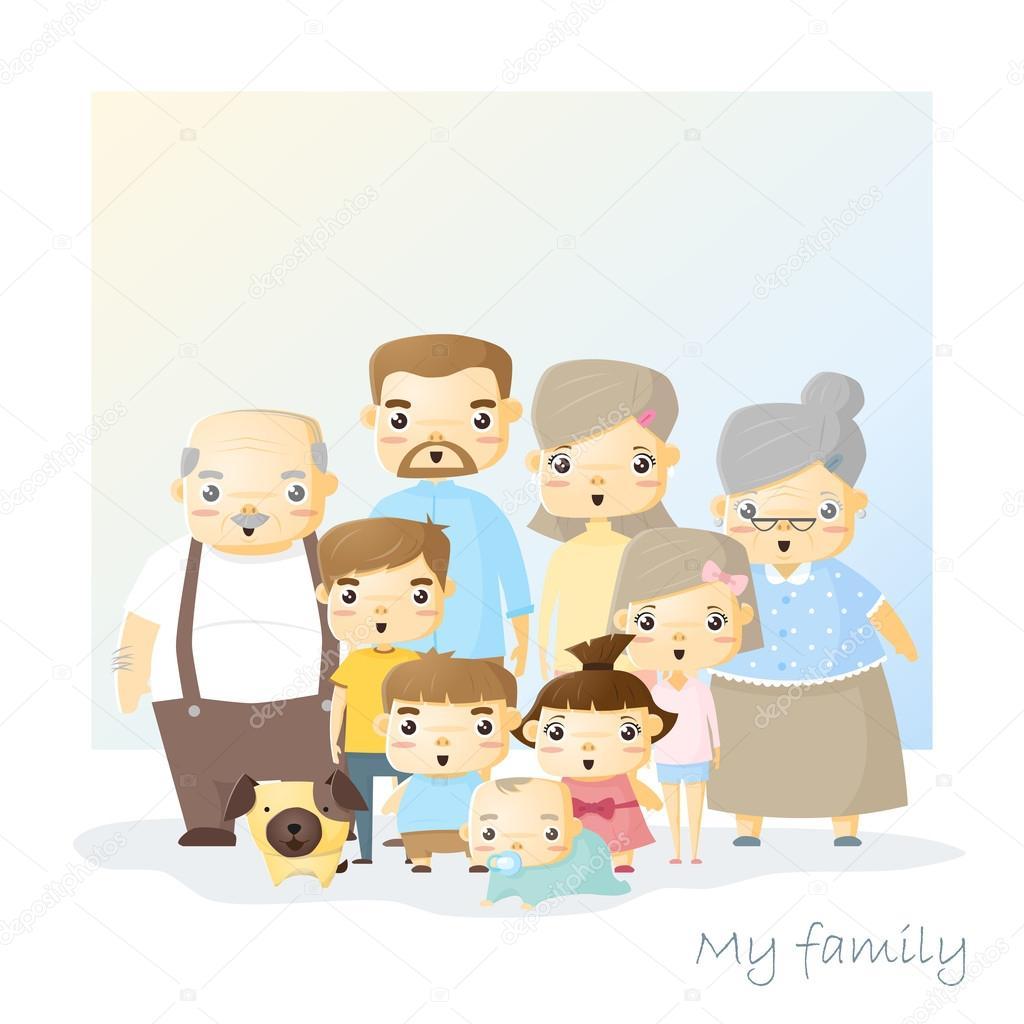 かわいい家族の肖像画の大きな家族背景 ベクトル イラスト ストック