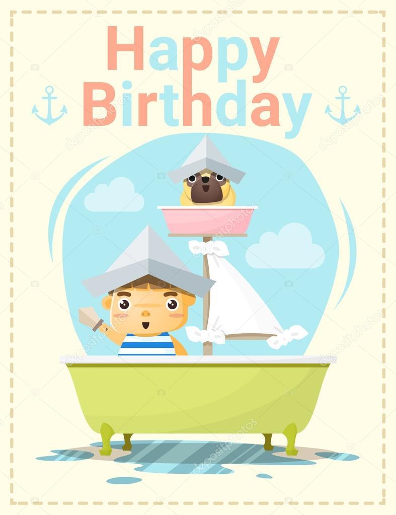 grattiskort pojke Grattiskort med liten pojke och vän, vektor, illustration — Stock  grattiskort pojke