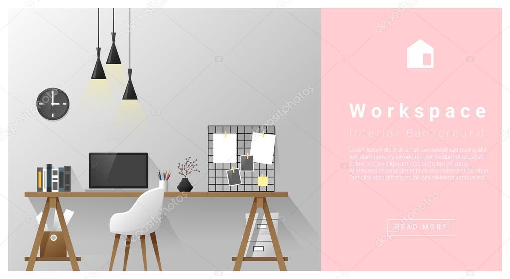 Interior design Modern workspace background , vector, illustration ...