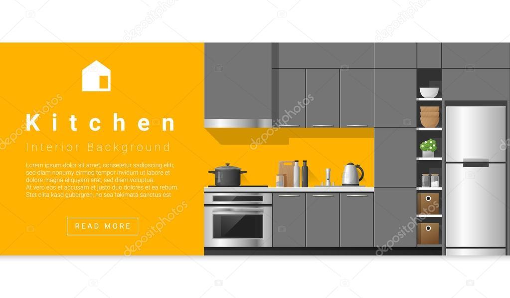 Interior design modern kitchen background vector for Kitchen design vector