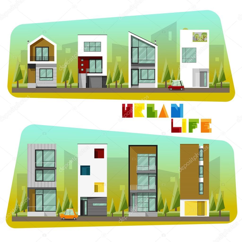 Häuser-Sammlung, modernes Haus und Gemeinschaft — Stockvektor ...