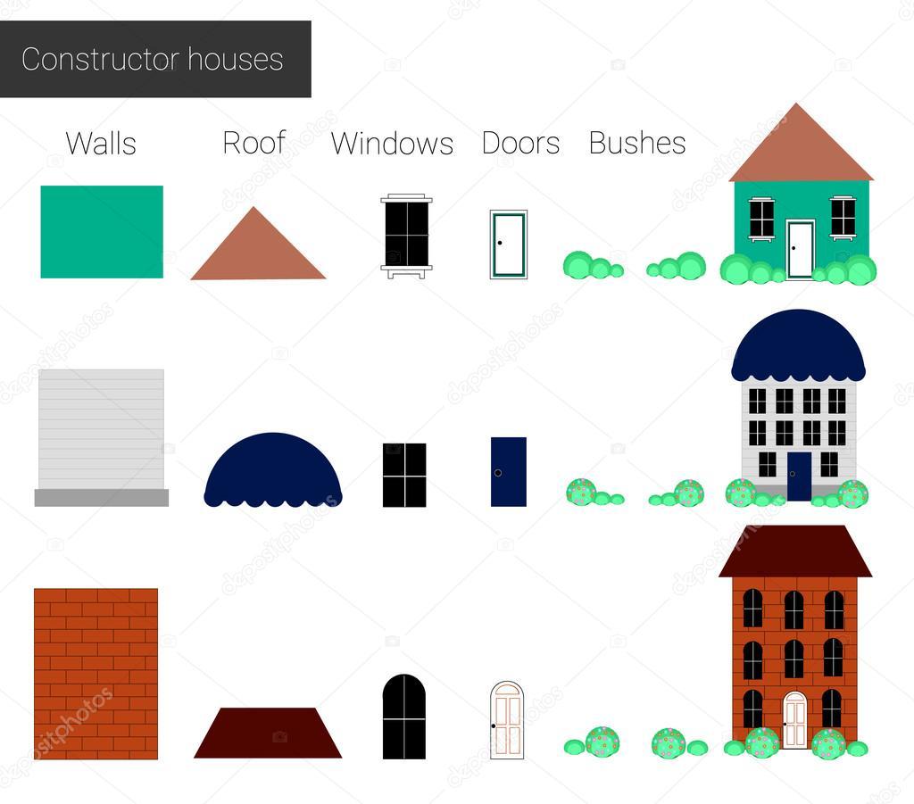 Vektor-Illustration, detaillierte Set kühl Konstruktor Häuser ...