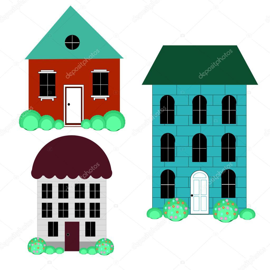 Vektor-Illustration, Häuser Set kühl detaillierte — Stockvektor ...