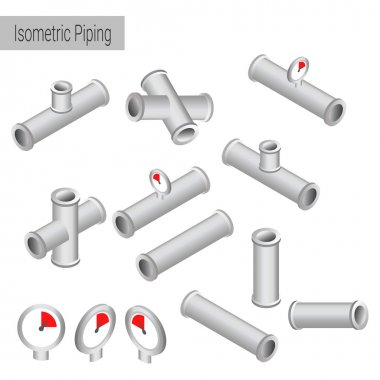 Vector 3d flat isometric illustration collection of detailed Construction Pieces