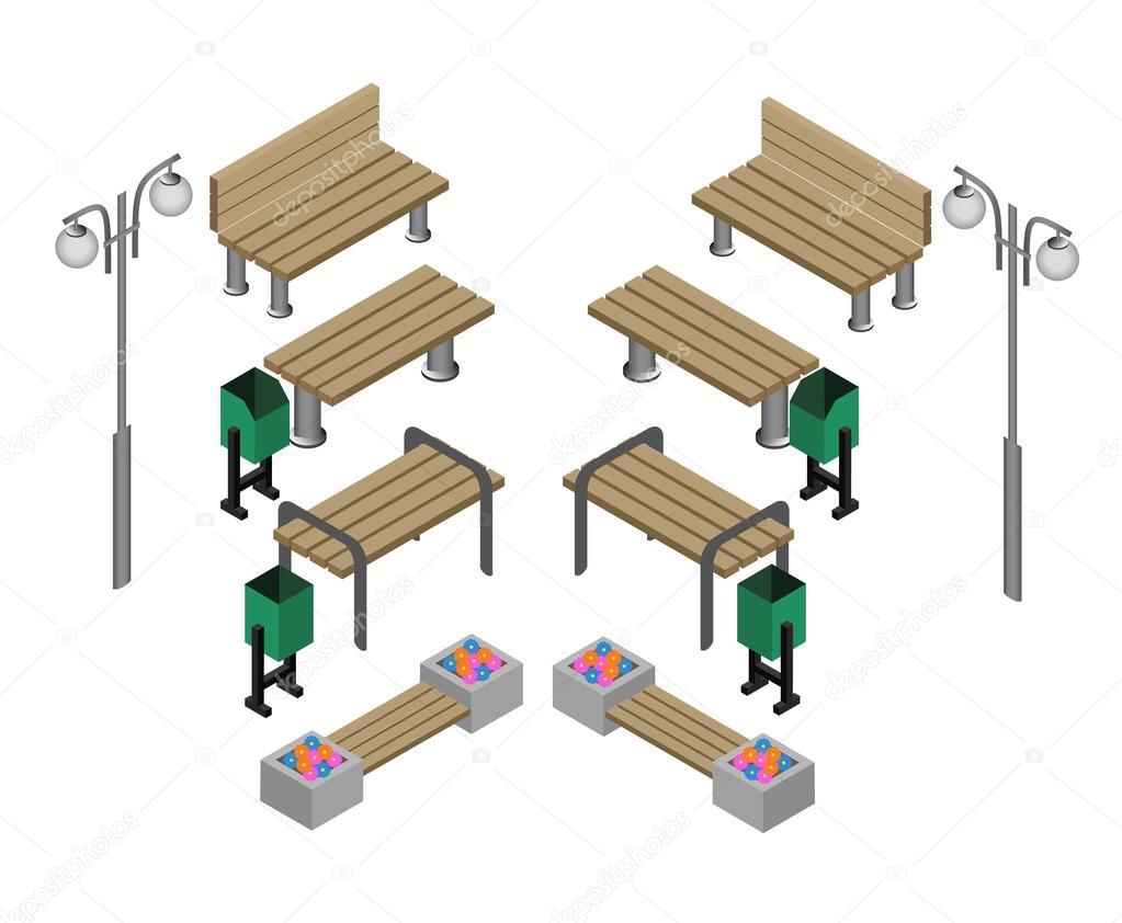 Banco bancos de parque al aire libre icon set vector de for Banco de paletas al aire libre