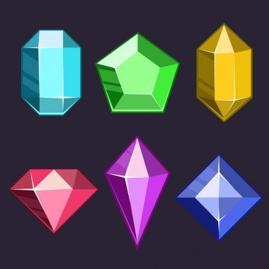 Cartoon vector gems and diamonds icons set in different colors with different shapes