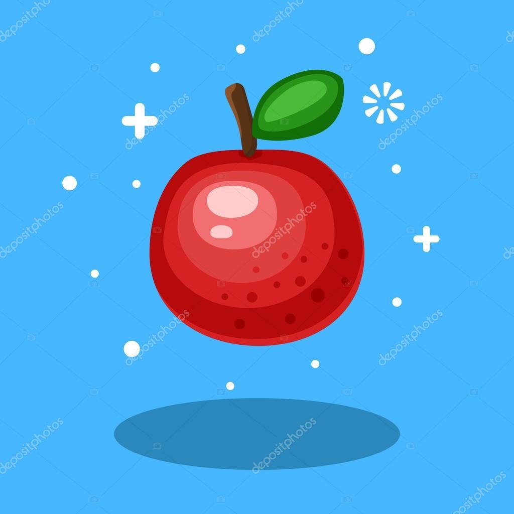 Mela Del Fumetto Rosso Su Sfondo Blu Icona Di Apple Di Colore