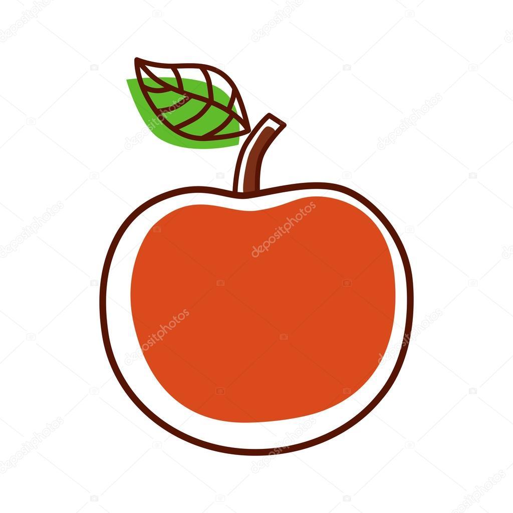 Manzana de dibujos animados sobre un fondo blanco. Icono de Apple en ...