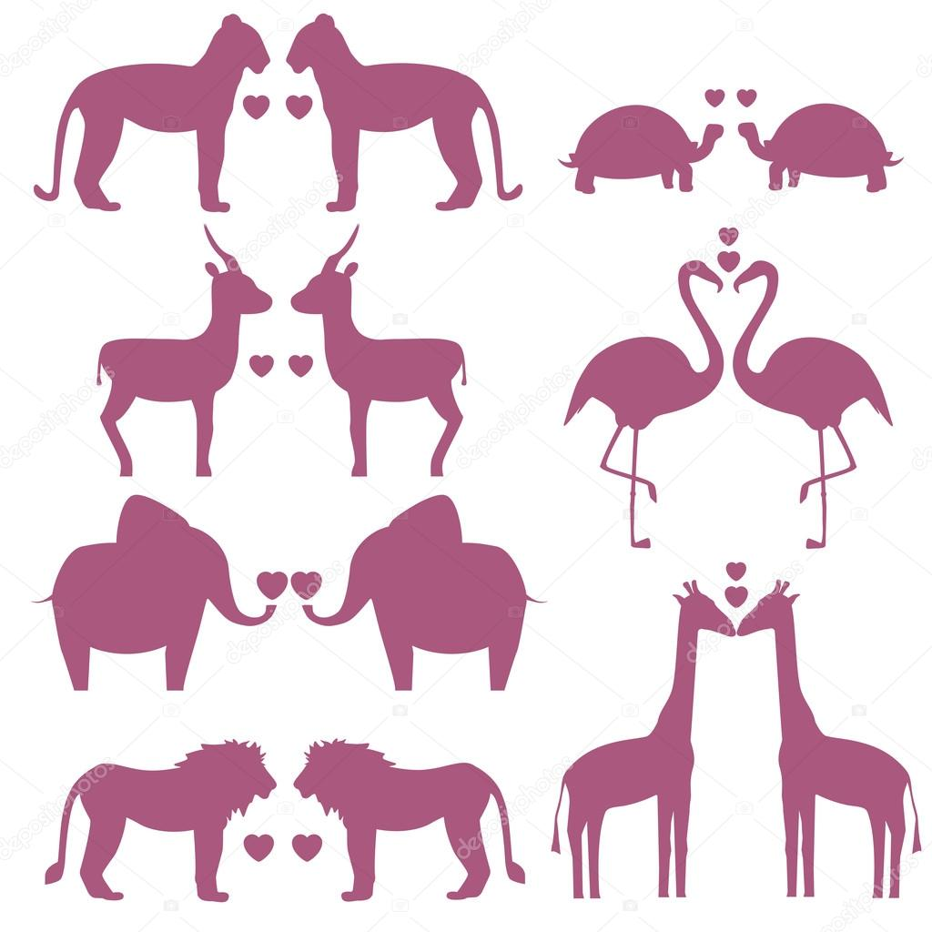 Set Of Animals Couple In Love Stock Vector C Fancy Tapis Gmail