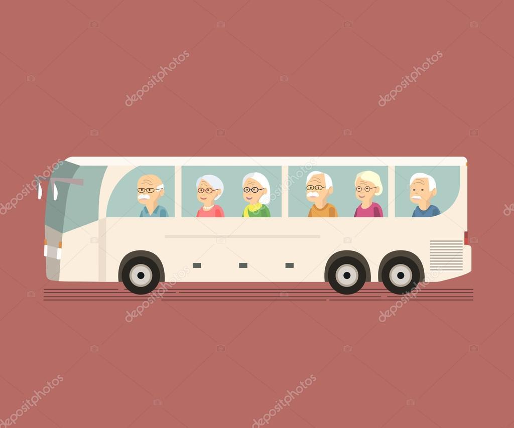 Image result for cartoon bus full of seniors