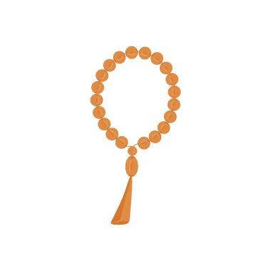 Orange beads icon. Religious symbols, rosary necklace, praying symbol. Vector illustration flat design stock vector