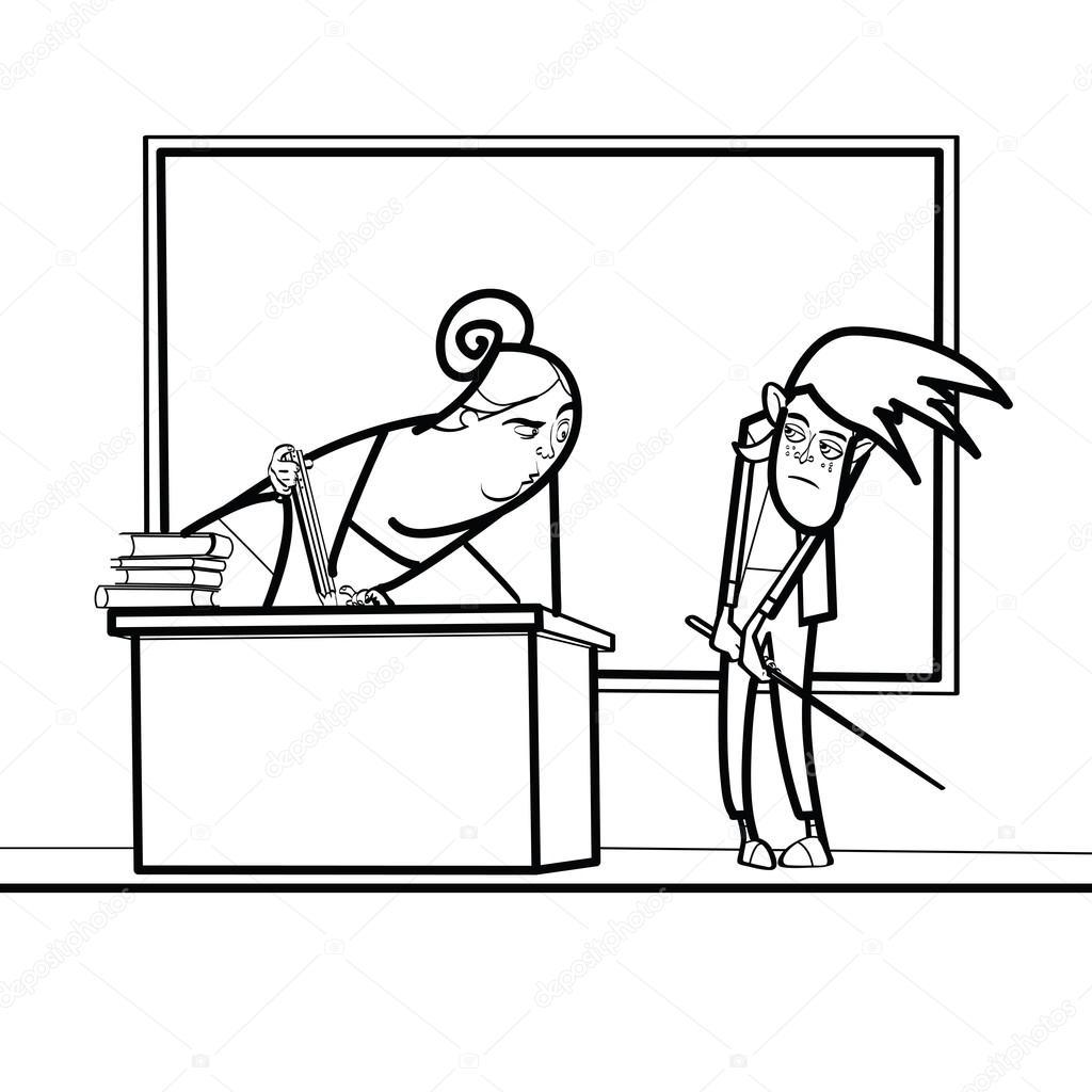 Учитель и школьник в школе — Векторное изображение ...