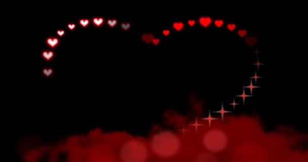Seamless loop - Valentines Day Hearts and Sparkles I Love You Red - animation of chasing red hearts and sparkles creating a large sparkling heart shape floating above moving red clouds. Animated cursive letters spell out I Love You inside the heart.