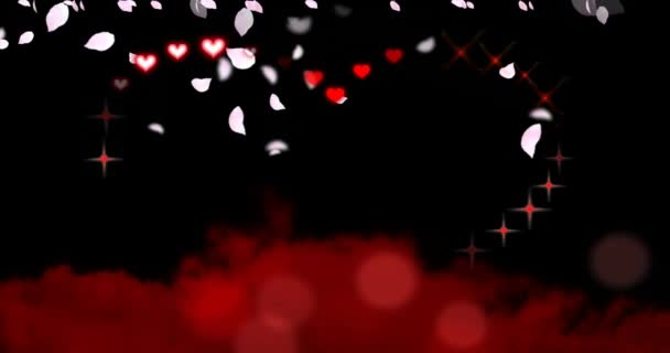 Valentines Day Hearts and Sparkles with Falling Petals - beautiful pink flower petals rain down over an animation of red hearts and sparkles creating a large sparkling heart shape floating above red clouds.
