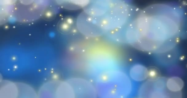 Particles - Dark Blue Looping Animated Abstract Background; animation of a colorful illustration with blue, lavender purple, white, yellow, and gray.