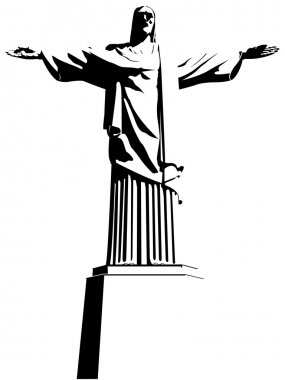 Christ the Redeemer is an Art Deco statue of Jesus Christ in Rio de Janeiro / Brazil. Drawing in black and white. Vector image