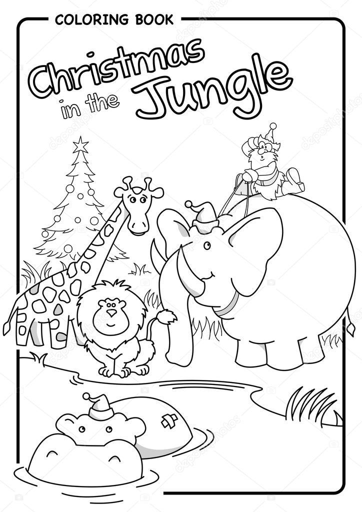 Navidad en la selva - Santa montando un elefante - colorear dibujo ...