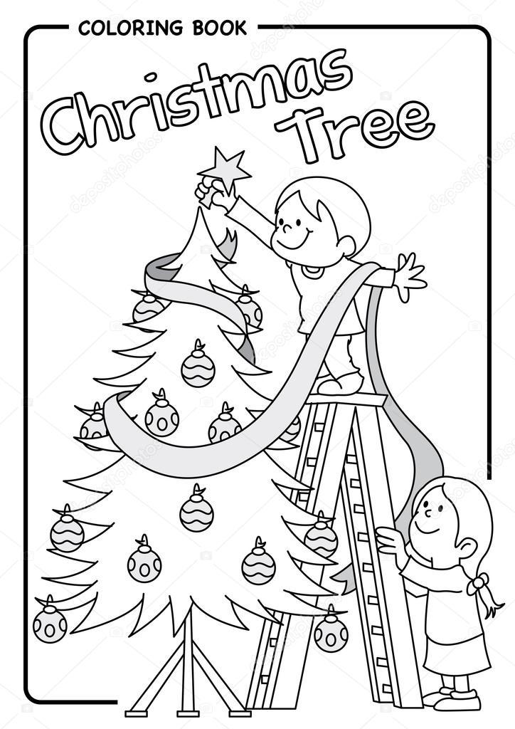 Par de niños decorando el árbol de Navidad usando una escalera ...