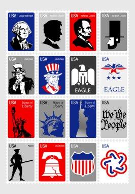USA Symbols - Set icons framed stamps