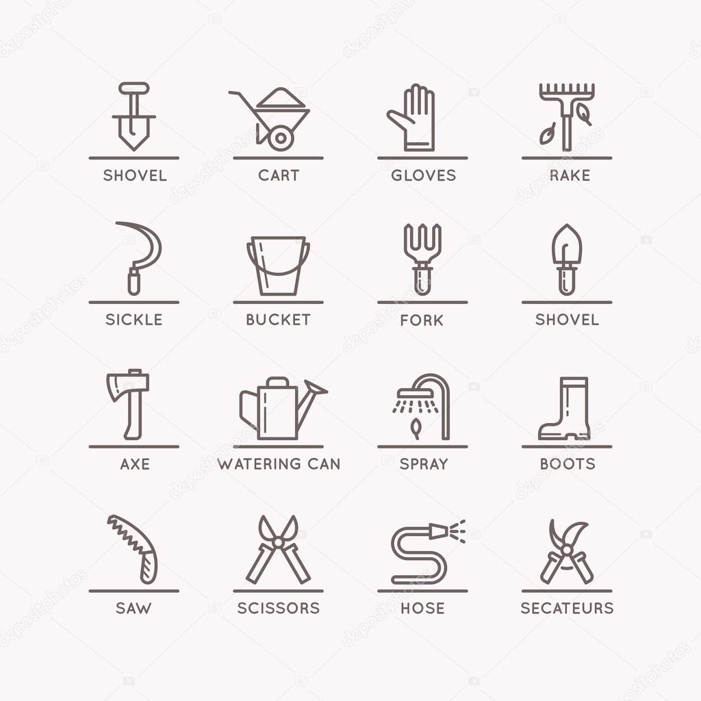 Vector linear icons of garden tools