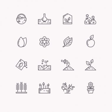 Vector line icons for gardening.