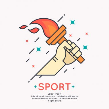Illustration Hand with a burning torch for sports
