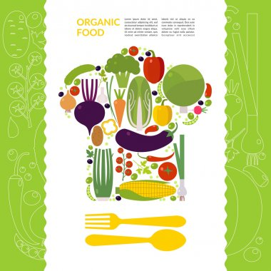 Organic food. Element and icon for card