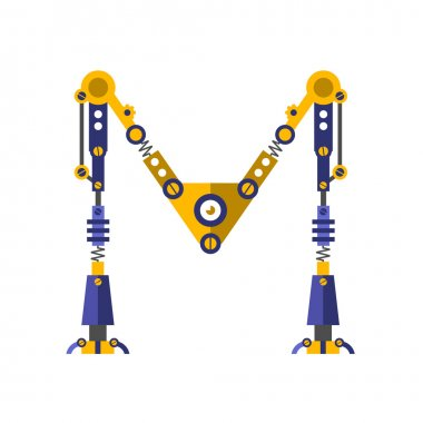 Robot, font. Letter M