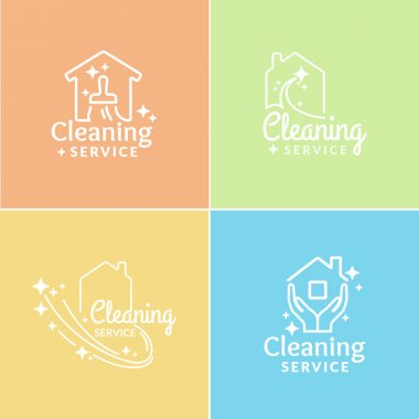 Set. Logos Cleaning Service.