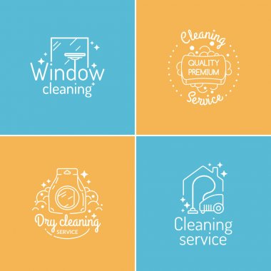 Set. Cleaning service. Labels collection. Logos and design elements. clip art vector