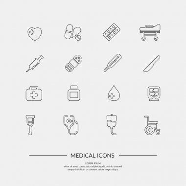 Medical icons. Elements and icons for cards