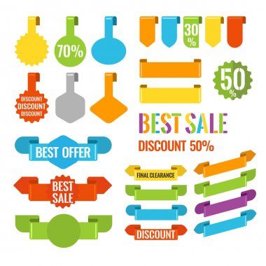 Bright stickers for price tags and the text.