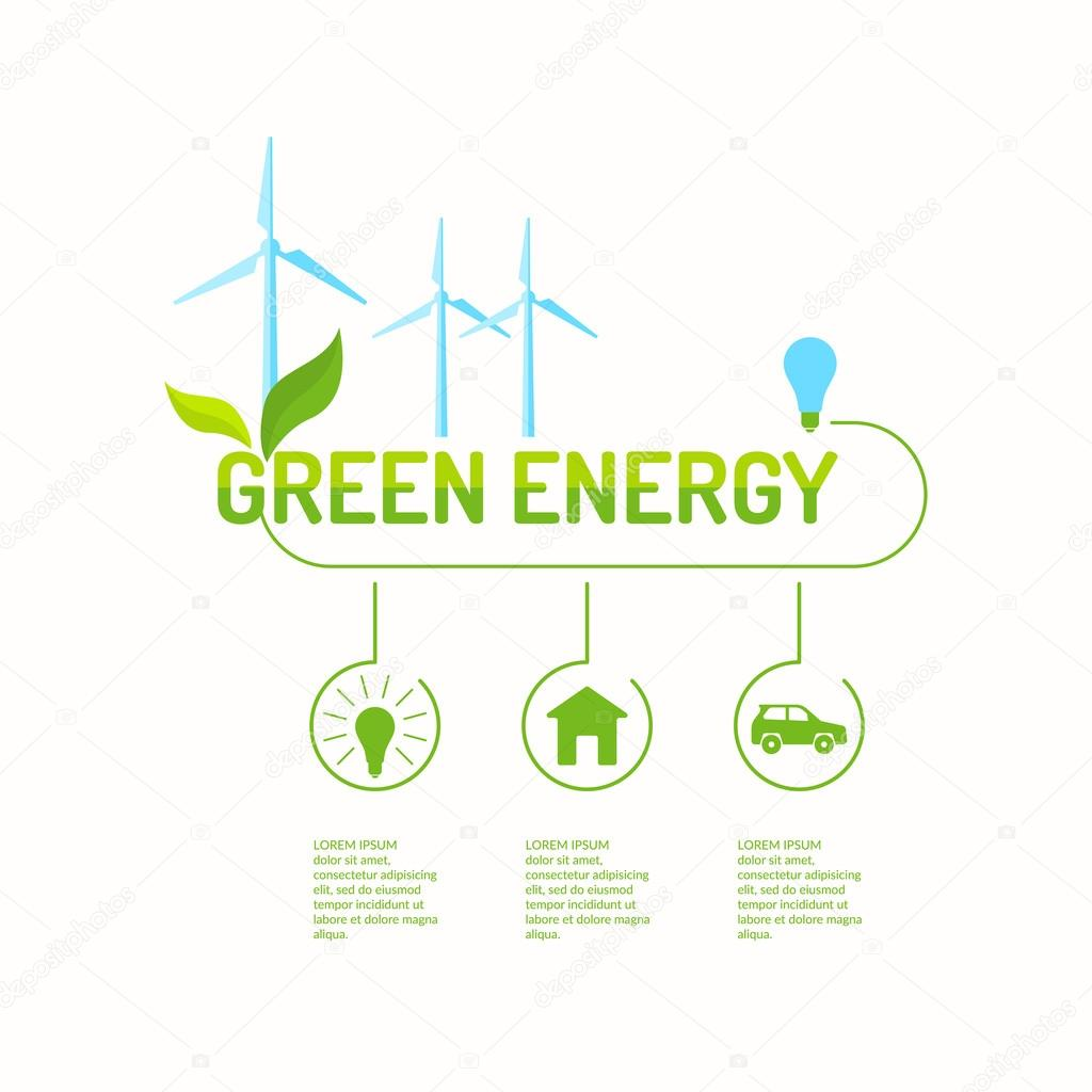 Green energy. Illustrations for design