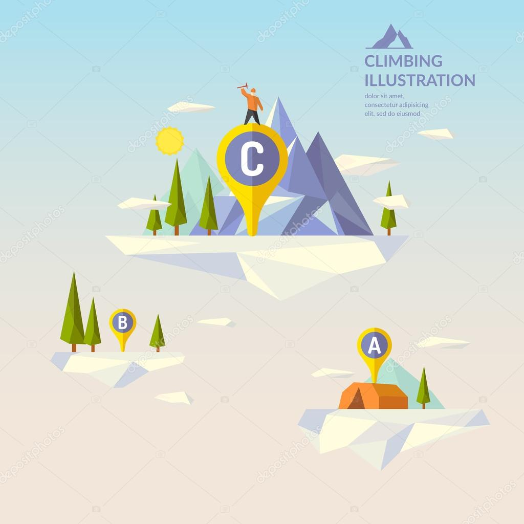 Mountaineering. nature in the polygonal style